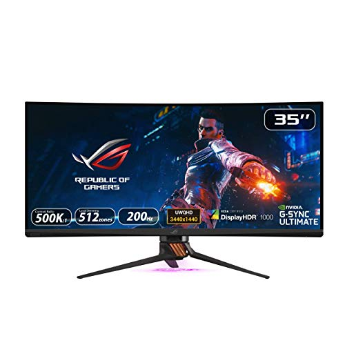 """Asus ROG Swift PG35VQ 35"""" Curved HDR Gaming Monitor 200Hz (3440 X 1440) 2ms G-Sync Ultimate Eye Care DisplayPort HDMI USB Aura Sync HDR10 Displayhdr 1000 (Renewed)"""