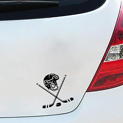 WANGCAI Auto Tuning Aufkleber Eishockey Helm Vinyl Auto Aufkleber Form Schwarz 15.2X15.8Cm 2Pcs