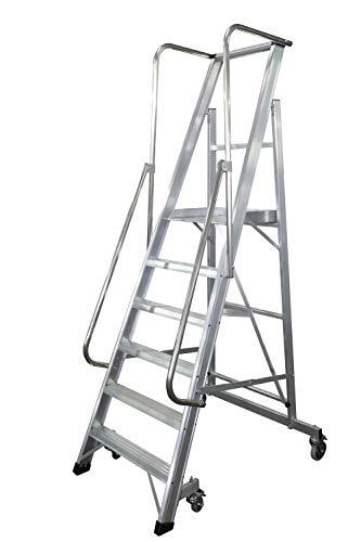 KTL Escalera Plegable con Plataforma y guardacuerpos 6 peldaños móvil Profesional Serie 2XL-s