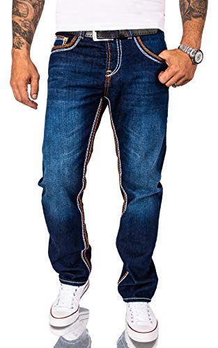 Rock Creek Herren Jeans Hose Comfort Fit Dicke Nähte Jeans Herrenjeans Herrenhose Denim Stonewashed Basic Weites Bein Raw RC-2167 Dunkelblau W33 L32