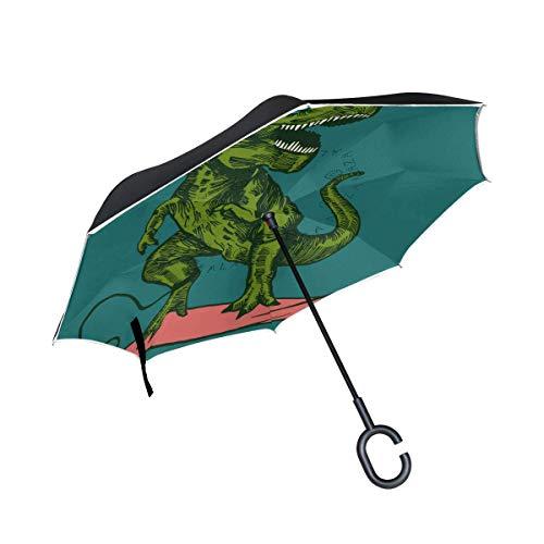 huatongxin Reverse Folding Umbrella Happy Dinosaur Surfer Wearing Sunglasses Inverted Umbrellas Double Layer Windproof Umbrella for Car Rain Outdoor with C-Shaped Handle