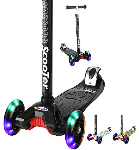 Kick Scooter for Kids, 3 Wheels Toddlers Scooter for 3 4 5 6 Years Old Boys Girls Learn to Steer, Kids Scooter 4 Adjustable Height, Extra-Wide Deck, Flashing Wheel Lights for Children Gifts