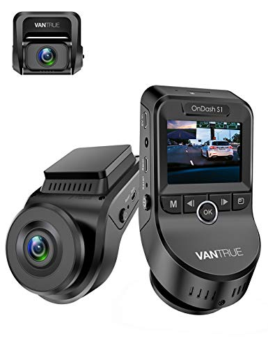VANTRUE S1 Dual Dashcam 1080P, 2880x 2160P vorn, Sony Sternenlicht Nachtsicht, GPS Eingebaut, 24 Std. Parkmodus Auto Kamera, Crash Sensor, 60fps Front 1080P Dash Cam, 2 Zoll 330° Autokamera, Max 256GB
