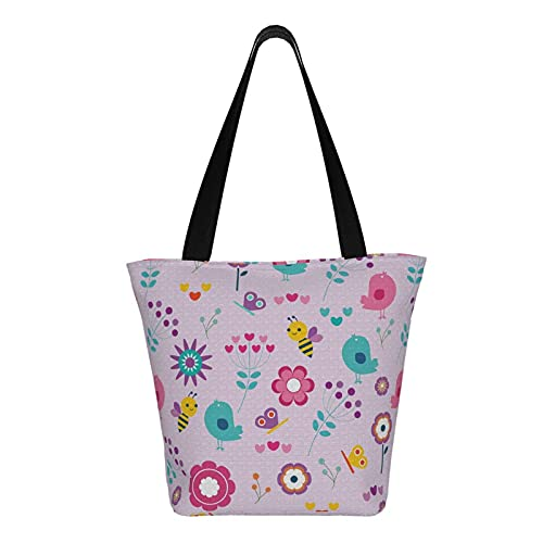 Teery-YY Bolsa de lona con diseño de girasol de abejas, diseño de mariposa, color rosa, grande, casual, bolsa de hombro, bolsa de mano, reutilizable, para viajes, playa, para compras, comestibles