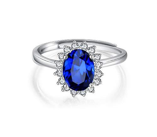 Anillo solitario de mujer ajustable piedra azul zafiro amatista estilo elegante lujo con brillantes anillos de compromiso color plata