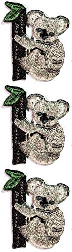ONCEX 3PCS. Size Small Cute Pretty Bear Koala Climbing Tree Patch Cartoon Sticker Iron On Patches DIY Applique Embroidered Sew Iron on Patch Emblem Clothing Costume or Reward Gift