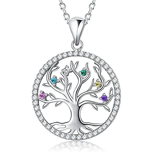 BOZLUN Collar de Mujer, Colgante árbol de la Vida en Plata/Acero Inoxidable con Piedra Natal, Regalos para el día de la Madre, cumpleaños, Madre, Esposa, Hij