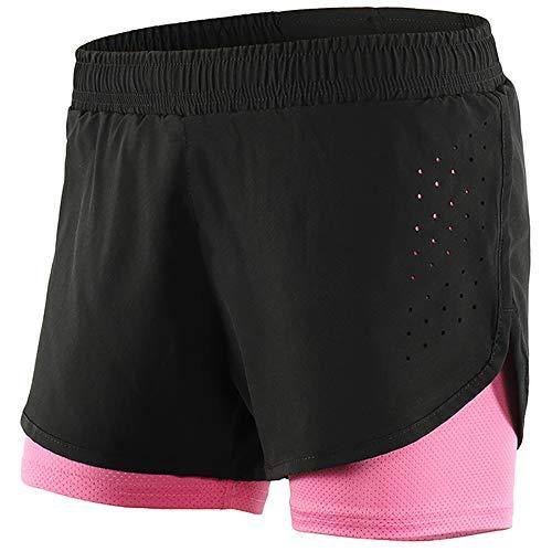 Fahrradshorts Damen Atmungsaktive, Fahrradhose 2 in 1 Laufhose Kurze mit Mesh Lining, Sporthose Frauen Gym Training Schnelltrocknend,Black pink,L