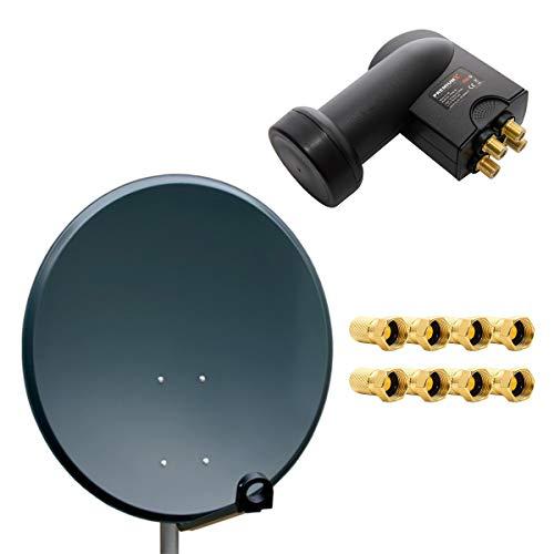 PremiumX Digital SAT Anlage 80cm ALU Schssel Spiegel Antenne Anthrazit Quad...