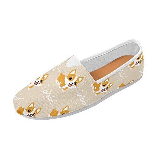 INTERESTPRINT Cute Cartoon Welsh Corgi Dog Classics Women's Slip On Loafer Shoes US5.5