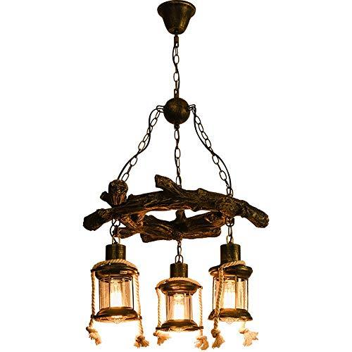Loft Suspension Luminaire Rétro Suspensions Industriel Vintage Lustre En Bois 3 Lumières Creative lampa à suspension En Métal Pendante Lampe pour Salon Lumière pendante E27 Ø50 * 40CM
