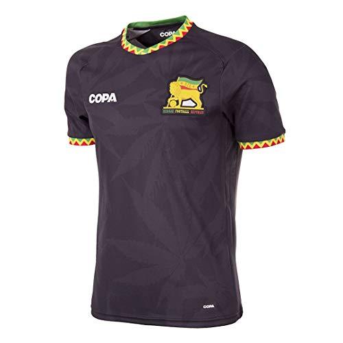 copa Herren Jamaica Football T-Shirt mit V-Ausschnitt, Schwarz, S