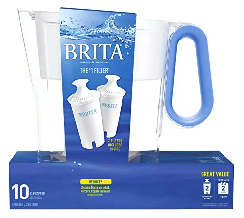 Brita Wave Filtered Water Filter Pitcher 10 Cup Capacity Includes 2 Filters - Blue