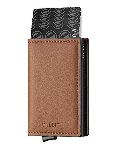 VULKIT Kreditkartenetui für Herren Geldbörse Leder RFID Schutz Geldbeutel Wallet Klein mit 3 Steckplätzen für 5-7 Karten & Geld, Braun