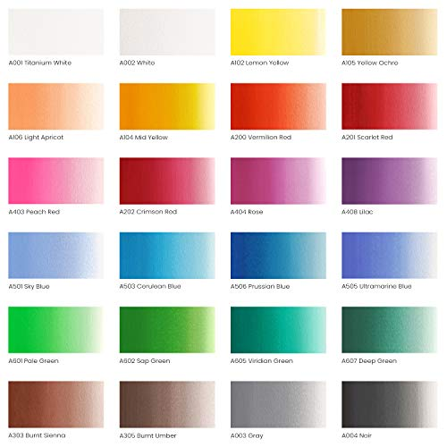 Arteza Gouache Paint, 24 Colors, 12ml, 0.4 US fl oz Tubes, Water-Based Paint for Canvas and Paper, Art Supplies for Professionals, Students, and Kids Photo #2
