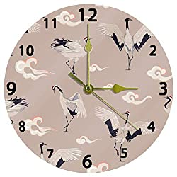 Promini Decorative Home Office Silent Non-Ticking Wooden Wall Clock 12 Inch Round Wall Clock for Living Room Office (Japanese Cranes Cloud Pattern)