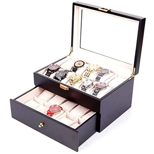 WMYATING Die Uhrenbox ist EIN Symbol für erfolgreiche Mensc Double-Layer-Lackuhr-Holzkiste Hochwertiger Klavier-Farb-Uhr-Box 20 hölzerne Uhren-Aufbewahrungskarton-Watch-Box (Color : B)