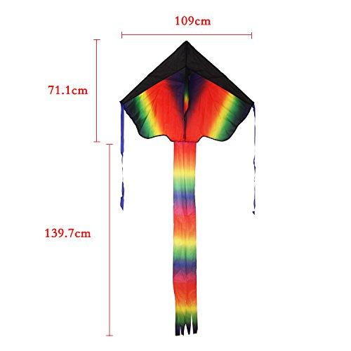 カラフルスカイカイト三角凧簡単に揚げられる大人も子供にも最適!アウトドアタコ凧糸とハンドル付き