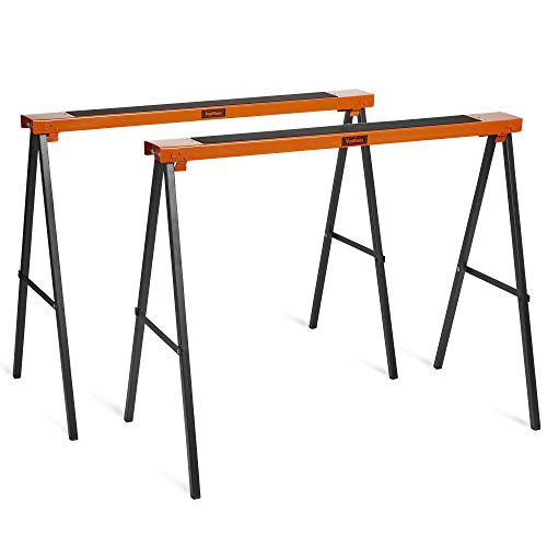 VonHaus Steel Saw Horse Trestles – Twin Pack – Folding Design – Lightweight with Carry Handle for Portability – Non-Slip Work Surface
