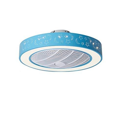 ASPZQ Ventilador de Techo con Luces Control Remoto LED Motor Silencioso 3 Velocidades Lámpara Fandelier Cerrada de Perfil Bajo con Hoja Oculta, 55cm / 21 Pulgadas, 72W (Color : A, Size : 200-240V)