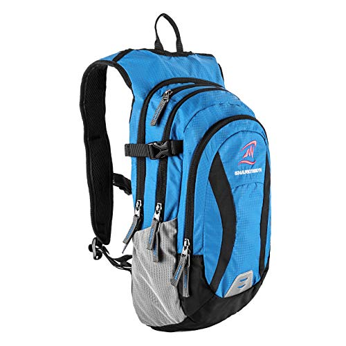 SHARKMOUTH Hiking Hydration Backpack Pack with 2.5L BPA Free Water Bladder, Roomy and Comfortable for Long Day Hikes, Day Trips, Daypack Travel and Journey, Blue