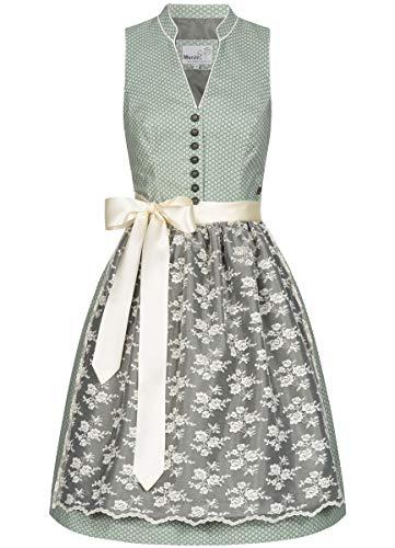 MarJo Trachten Damen Trachten-Mode Midi Dirndl Debina in Grün traditionell, Größe:36, Farbe:Grün