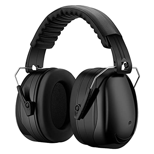Noise Reduction Safety Earmuffs, NRR 28dB Noise Protection Shooting Earmuffs, Hearing Protection Ear Muffs, Foldable Ear Defenders for Shooting, Hunting, Mowing, Construction, Carrying Bag Included