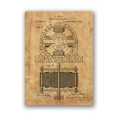 Coche eléctrico Imprimir Arte de la pared Cartel Decoración de la habitación Blueprint Canvas Painting Picture Gift 13x18cm