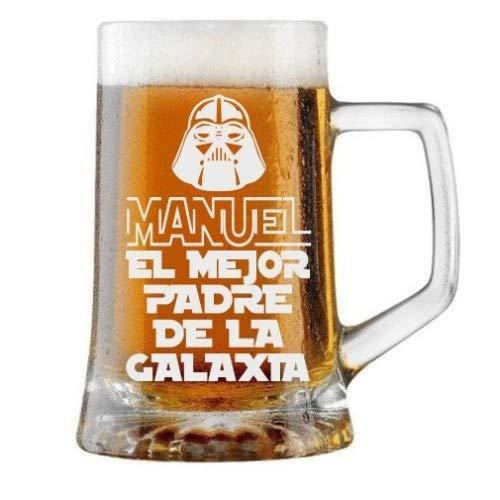 Jarra de Cerveza Personalizada Día del Padre, MEJOR PADRE DE LA GALAXIA Regalo Grabado y Personalizado para Hombre o Mujer Obsequio para Celebraciones, Cumpleaños, Aniversarios, Día del Padre