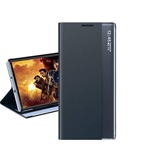 Hülle® Ventana Lateral Visible Flip Stand Función Funda Compatible para Samsung Galaxy S9 Plus (Azul Oscuro)