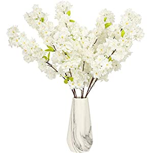 Tifuly Artificial Cherry Blossom Long Stem Fake Cherry Blossom Tree Silk Flowers Table Decoration Accessories Party Beach Theme Decorations(White Cherry Blossom)