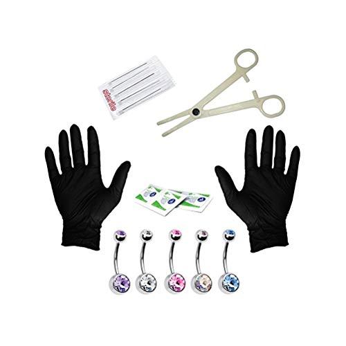 FENICAL Kit de Piercing para Labio Vientre Cejas de Acero Inoxidable 14Gy Lengua Juego de Anillos de Ombligo Incluye Las Agujas Joyería de Piercing (Plata) 15 Unidades