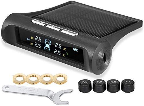 aipipl TPMS Sistema de monitoreo de presión de neumáticos, energía Solar, inalámbrico, Inteligente, Universal, Digital, Pantallas en Tiempo Real, indicador de presión y Temperatura de 4 neumáticos