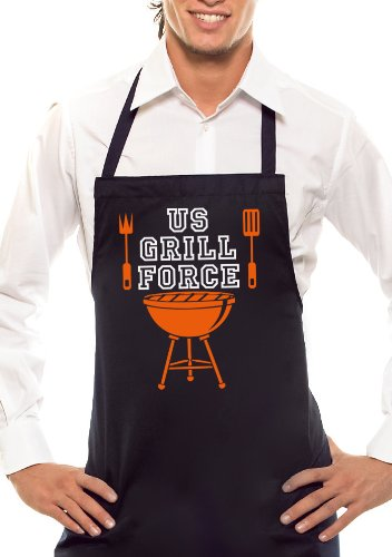 Comedy Grill US Tablier Barbecue Force – Bicolore – Noir/Orange/Blanc