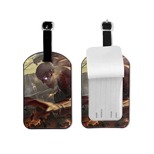 Attack on Titan Luggage Tag Travel ID Identification Labels Set For Bags With Full Privacy Cover Business Card Holder For Trunk Information Address ID Label Accessories