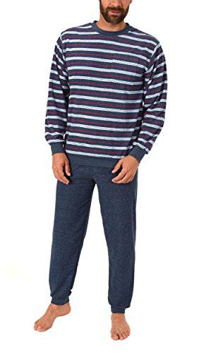 Eleganter Herren Frottee Pyjama Schlafanzug lang mit Bündchen - auch in Übergrössen 61505, Größe2:48, Farbe:blau