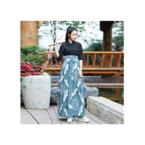 ZHANG Kimono Kleid Damen Haute Couture Japanische Kranich Kirschblüte Yukata Retro-Party,Small