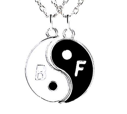 Inception Pro Infinite Best Friends - Collar con inscripción 'Best Friends' - Mejores amigos (Ying Yang B & F, 2 unidades) - Idea regalo