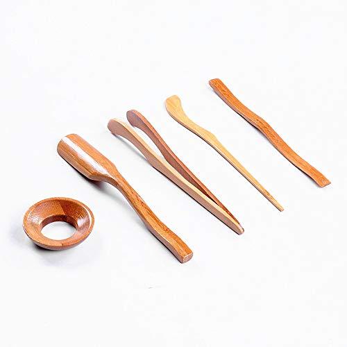 5 Unids/Set Utensilios de Ceremonia del Te de Bambu Set Cucharillas de te Aguja Pinzas de Te Clip Colador Tubo de Tong Menaje de Madera