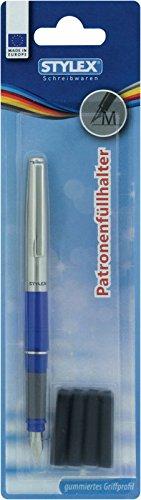 Schulfüller Füllhalter & 4 Patronen / mit Edelstahlkappe / Farbe: blau