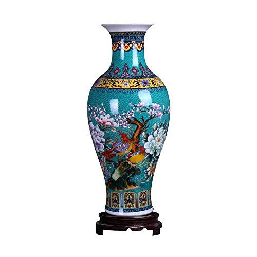 ufengke Jingdezhen Grande Vaso Ceramica a Coda di Pesce,Vaso da Pavimento,Fatto a Mano,Vaso Decorativo,18.11