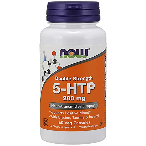 Now Foods I 5-HTP 200mg I Mit Glycerin, Taurin und Inositol I 60 vegane Kapseln