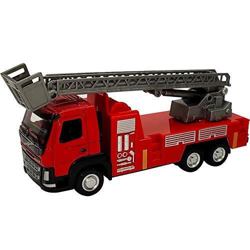 Xolye Legierung Schiebeleiter Fire Truck Red 01.50 Sprinkler-Löschfahrzeug-Kinderspielzeugauto Metall-Spielzeug-Auto-Dekoration Lehrmittel-Simulation Engineering-Träger-Spielzeug (Color : EIN)