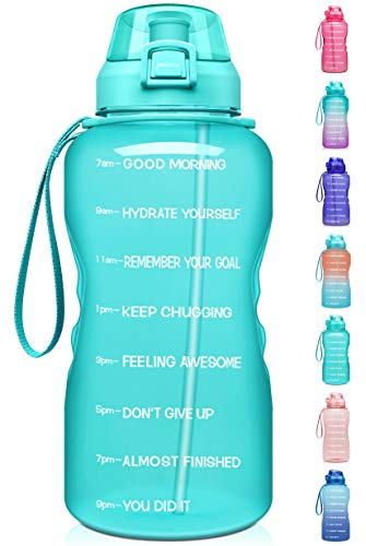 Fidus Large 1 Gallon/128oz Motivational Water Bottle with Time Marker & Straw,Leakproof Tritan BPA Free Water Jug,Ensure You Drink Enough Water Daily for Fitness,Gym and Outdoor Sports-Mint Green