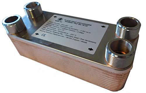 """Edelstahl Wärmetauscher Plattenwärmetauscher NORDIC TEC Ba-16-22, 100kW, 22 platten, 1"""""""