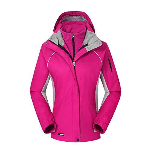 ZKOO Donna 2 Strati Softshell Giacca Fleece Sport Giacca Giacca a Vento Funzionale Impermeabile Outdoor Trekking Giubbotto Autunno e Inverno Rose