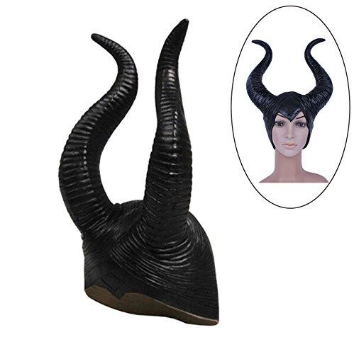 Wankd Maleficent Hörner, Erwachsene Frauen Latex Maleficent Hut Hörner Evil Black Queen Kopfschmuck Cosplay Headwear Halloween Party Cosplay Kopfschmuck Hut für Frauen Lady Girl