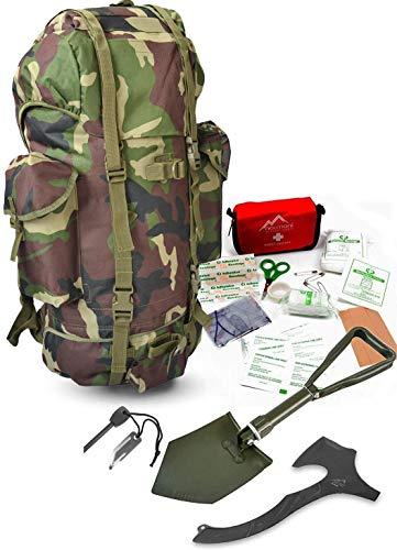 Survival Set BW Bundeswehr Flecktarn Kampfrucksack + Bundeswehr Spaten nach TL + Tomahawk M48 + Feuerstarter + Erste Hilfe Notfall Kit Farbe Woodland