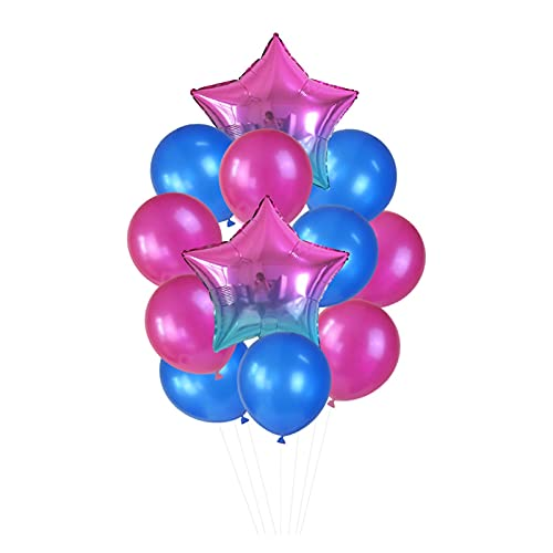 Globo 12 unids/Set 18in '' Gradient Star Foil Ballon 12in '' Latex Ballons Penta Helium Globos Fiesta Boda Decoraciones de cumpleaños Globos de cumpleaños (Color : T04)