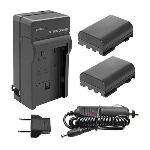 TURPOW NB-2LH NB-2L Battery Charger Set for Canon PowerShot G7 G9 S30 S40 S45 S50 S60 S70 S80 DC410 DC420 VIXIA HF R10 HF R100 HF R11 EOS 350D 400D Digital Rebel XT XTi [ 2 Pack, 1700mAh ] Car Battery Charger Set